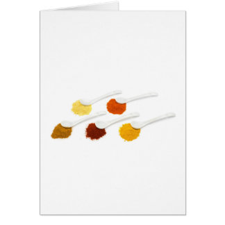 Several seasoning spices on porcelain spoons card