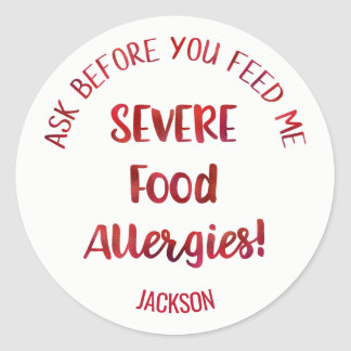 Severe Food Allergies Kids Personalized Don't Feed Round Sticker