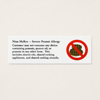 Severe Peanut Allergy Profile Card for Restaurants