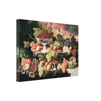 Severin Roesen - Two-Tiered Still Life with Fruit Canvas Print