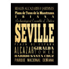Seville City of Spain Typography Art Postcard
