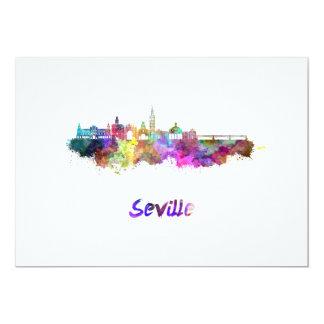 Seville skyline in watercolor card