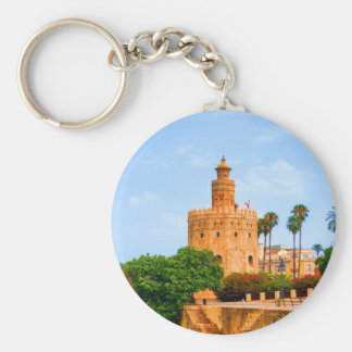 seville spain tower of gold flowers trees palms basic round button keychain