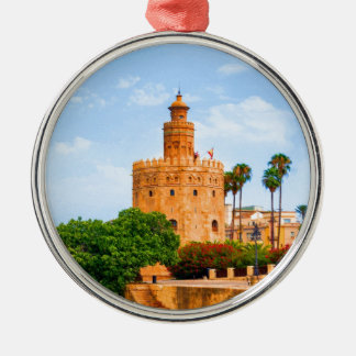 seville spain tower of gold flowers trees palms metal ornament