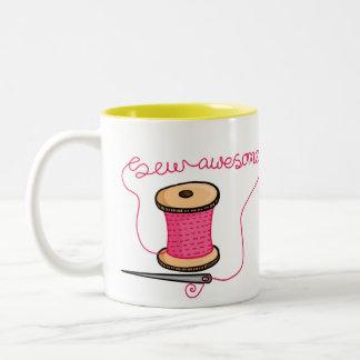 Sew awesome needle and cotton mugs