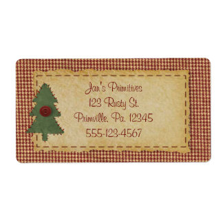 Sew Christmas Tree Holiday Business Label Shipping Label