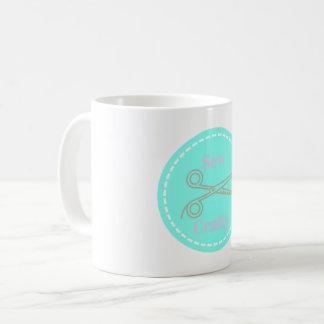 Sew Crafty Aqua Blue Circle with Scissors Coffee Mug