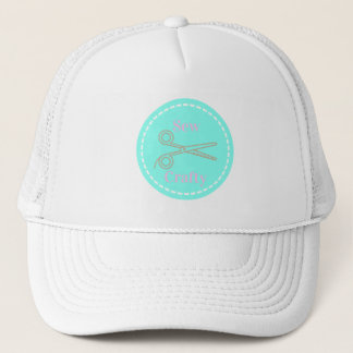 Sew Crafty Aqua Blue Circle with Scissors Trucker Hat
