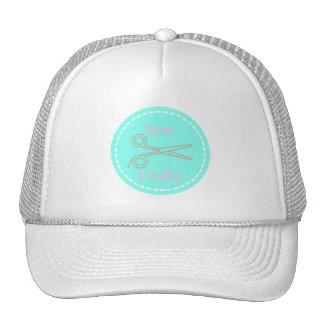 Sew Crafty Aqua Blue Circle with Scissors Trucker Hat
