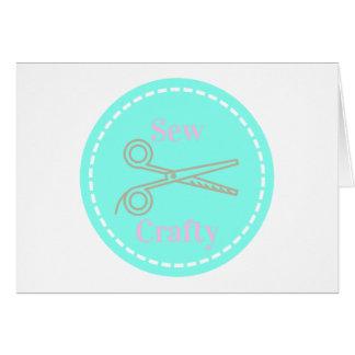 Sew Crafty Pastel Pink Gray Aqua Card