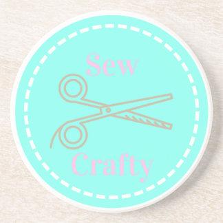 Sew Crafty Pastel Pink Gray Aqua Coaster