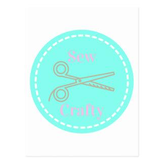 Sew Crafty Pastel Pink Gray Aqua Postcard