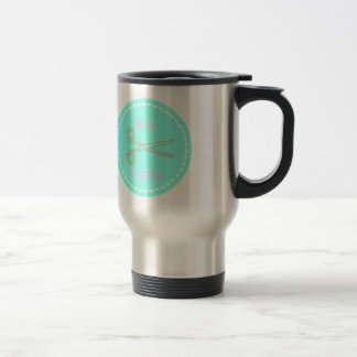 Sew Crafty Pastel Pink Gray Aqua Travel Mug