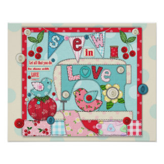 """""""Sew in Love"""" Inspirational Sewing Themed Poster"""