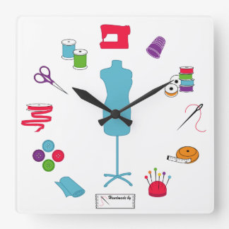 Sew Right Time Square Wall Clock