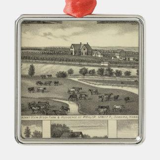 Seward Farms, Nebraska Silver-Colored Square Ornament
