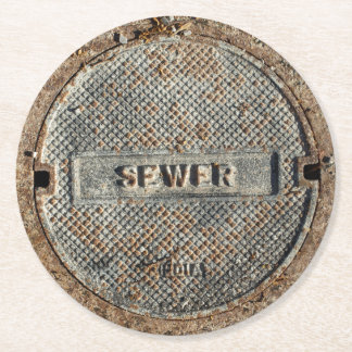 Sewer City Manhole Cover Round Paper Coaster