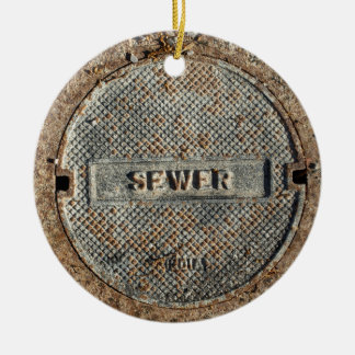 Sewer Manhole Cover Official Round Ceramic Ornament
