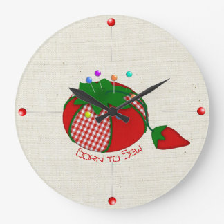 Sewer's Tomato Pincushion with Straight Pins Large Clock