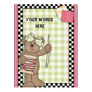 Sewing Bear postcard