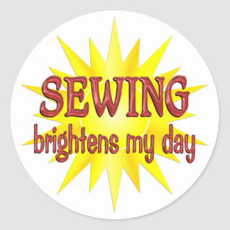 Sewing Brightens My Day Classic Round Sticker