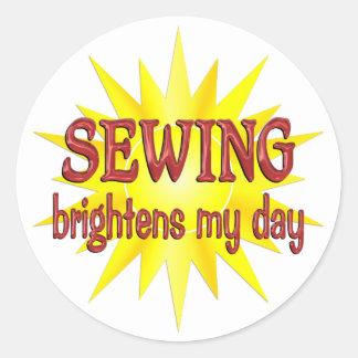 Sewing Brightens My Day Round Sticker