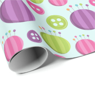 Sewing buttons and pin cushions wrapping paper