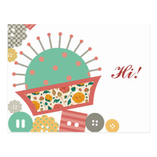 sewing buttons floral pincushion seamstress postcard