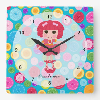 Sewing doll square wall clock