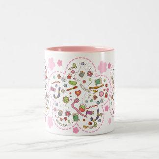 """""""Sewing fan"""" flowers mug"""