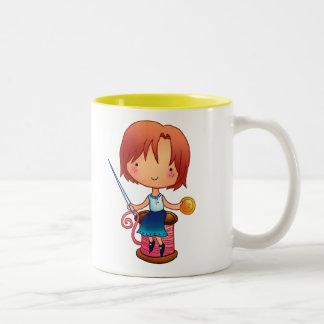 Sewing Girl Two-Tone Coffee Mug