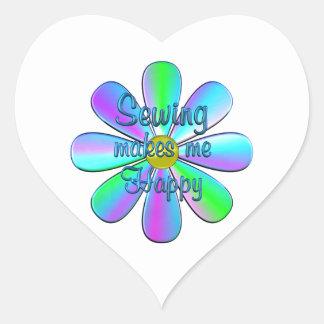 Sewing Happy Heart Sticker