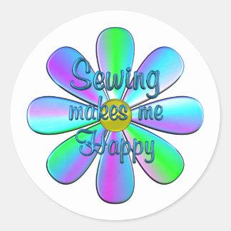 Sewing Happy Round Sticker