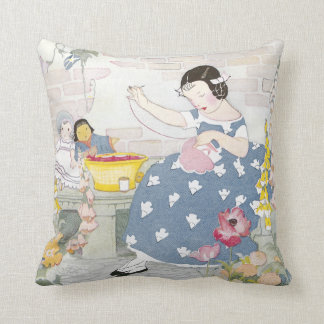 Sewing in a Garden of Foxglove & Poppies Throw Pillow