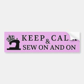 Sewing Keep Calm Sew On / Crafts Bumper Sticker