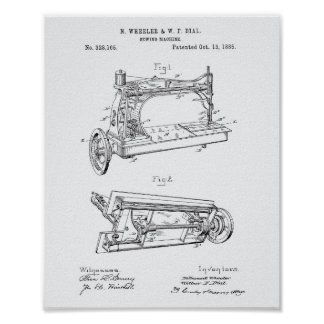 Sewing Machine 1885 Patent Art - White Paper Poster