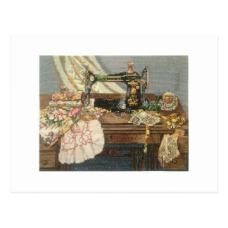 Sewing Machine and Dress Postcard
