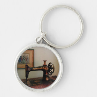 Sewing Machine and Lithograph Silver-Colored Round Keychain