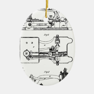 Sewing Machine feeding mechanism - Mary Carpenter Ceramic Ornament
