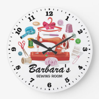 Sewing Machine Personalizable Wall Clock
