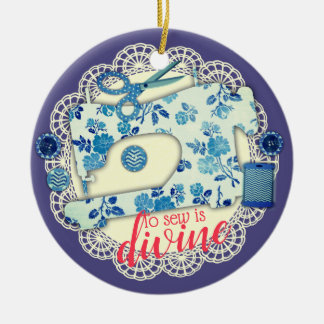 Sewing machine vintage floral Christmas ornament