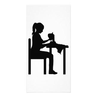Sewing machine woman photo card