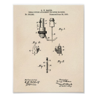 Sewing Machines 1893 Patent Art Old Peper Poster