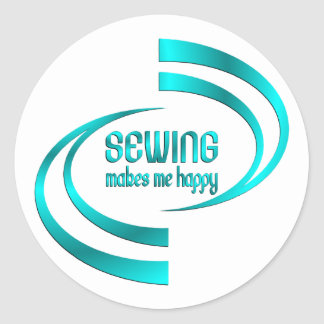 Sewing Makes Me Happy Round Sticker