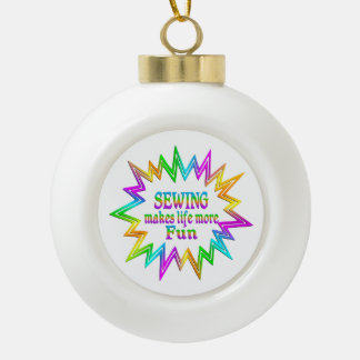 Sewing More Fun Ceramic Ball Christmas Ornament