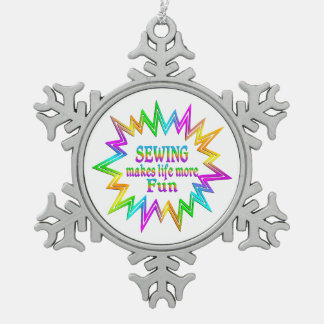 Sewing More Fun Snowflake Pewter Christmas Ornament