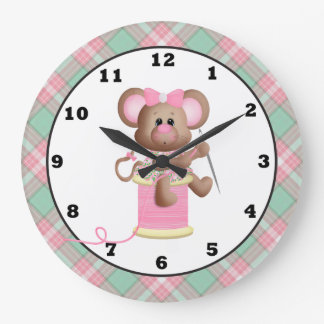 Sewing Mouse Crafting Room wall clock