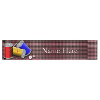 Sewing Needle and Thread Desk Nameplates