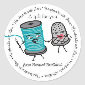 sewing needle spool of thread thimble love round sticker