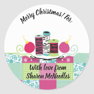 Sewing needle thread quilting Christmas sticker